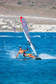 Unidentified of windsurfing sailor on training session for participate — Stock Photo