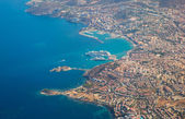 View of Kusadasi islands from aircraft — Stock Photo