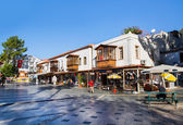Town Square named Cumhuriyet Meydani with traditional town houses in the village Kas — Stock Photo