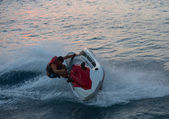 Jet ski men showed in the coast in Alanya beach — Stock Photo