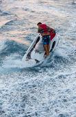Jet ski men showed in the coast in Alanya beach — Stock Photo