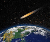 "Attack of the asteroid on the Earth ""Elements of this image furnished by NASA "" — Stock Photo"