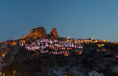 View of small towns in Cappadocia in the evening. — Stock Photo