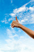 Hand with the blue sky — Foto Stock