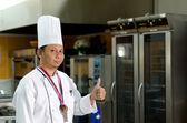 Chef with Good symbol — Stock Photo
