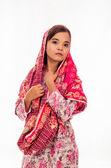 Una chica aislada en blanco — Foto de Stock