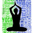 Yoga and health info text cloud — Stock Photo