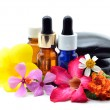 Essence oil with zen stones — Stock Photo