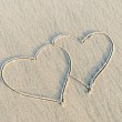 I love you and heart drawn on sand — Stock Photo
