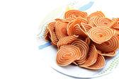 Onion crackers isolated on white background — Stock Photo