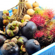 Stock Photo: Tropical fruits in blue basket