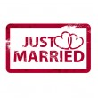 Vector just married stamps — Stock Vector