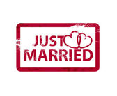 Vector just married stamps — 图库矢量图片