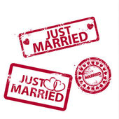 Vector just married stamps — Vector de stock