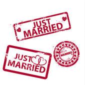 Vettore appena sposato francobolli — Vettoriale Stock