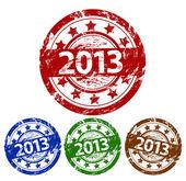 矢量快乐,新年邮票 — 图库矢量图片