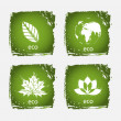 Green grunge nature icons — Stock Vector