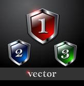 Shiny vector shields — Stock Vector