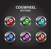 Colorful buttons with cogwheel icon — Stock Vector