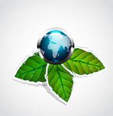Vector glossy earth globe on green leaves — Stock Vector