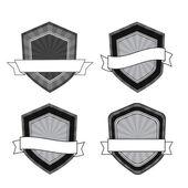 Vector retro escudos blancos y negro — Vector de stock