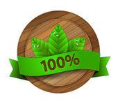 Vector ecology wooden badge — Stock Vector