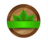 Vector ecology green wooden label — Stock Vector