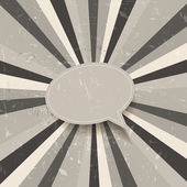 Grunge vector speech bubble on sunburst background — 图库矢量图片