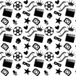 Stock Vector: Seamless black and white cinema pattern