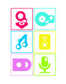Neon colored flat music icons — Stock Vector