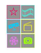 Set of flat neon colored cinema icons — Stock Vector