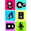 Vector neon colored music icons, flat design — Stock Vector