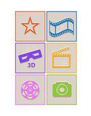 Retro paper cinema icons — Stock Vector