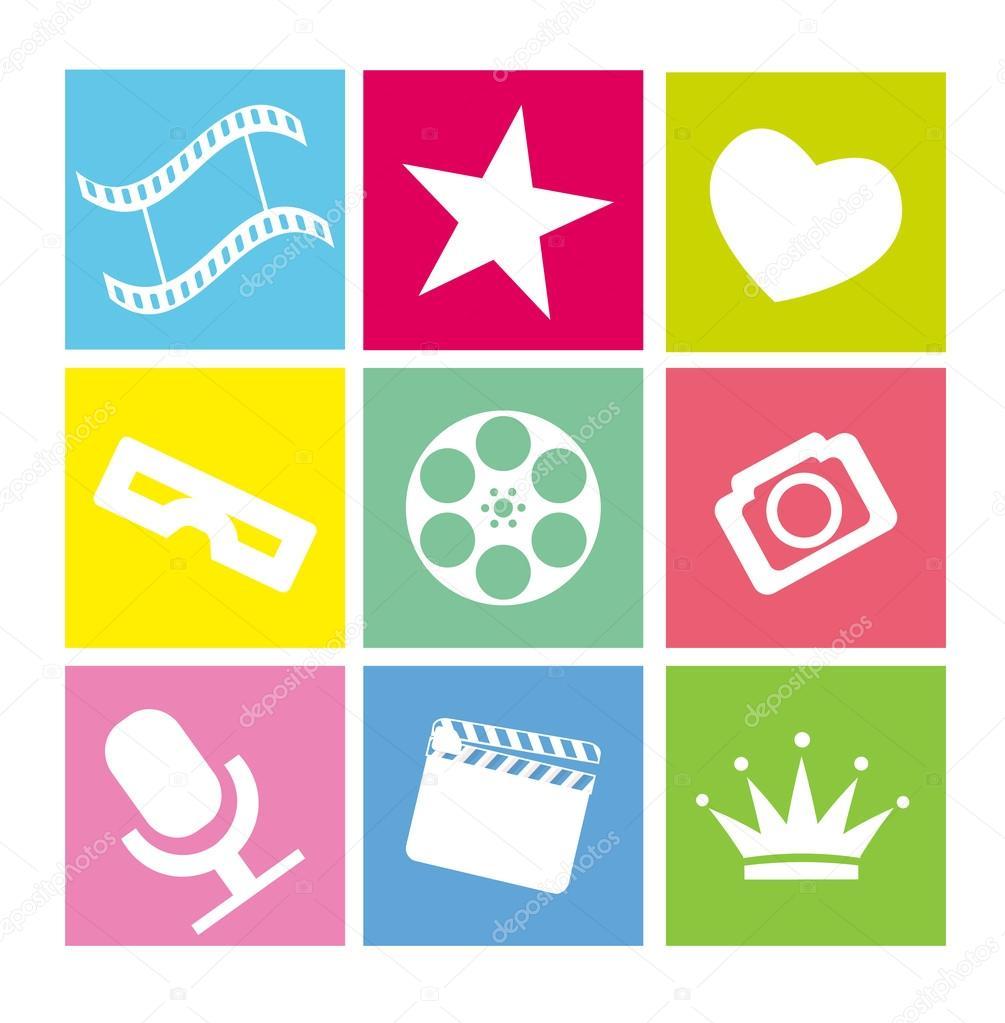 平霓虹色电影图标的设置 — 矢量图片作者 yasnatendp