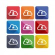 Flat long shadow cloud icons — Stock Vector