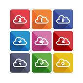 Flat long shadow cloud icons — Stock Vector