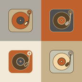 Retro record player icons — Stock Vector