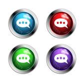 光沢のある音声バブル ボタン — ストックベクタ