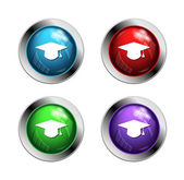 Shiny graduation hat buttons — Stock Vector