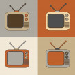 retro tv set icons — Stock Vector