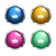Glossy crown buttons — Stock Vector