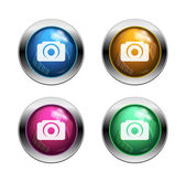 White camera icon buttons — Stock Vector