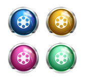 Glossy cinema buttons — Stock Vector