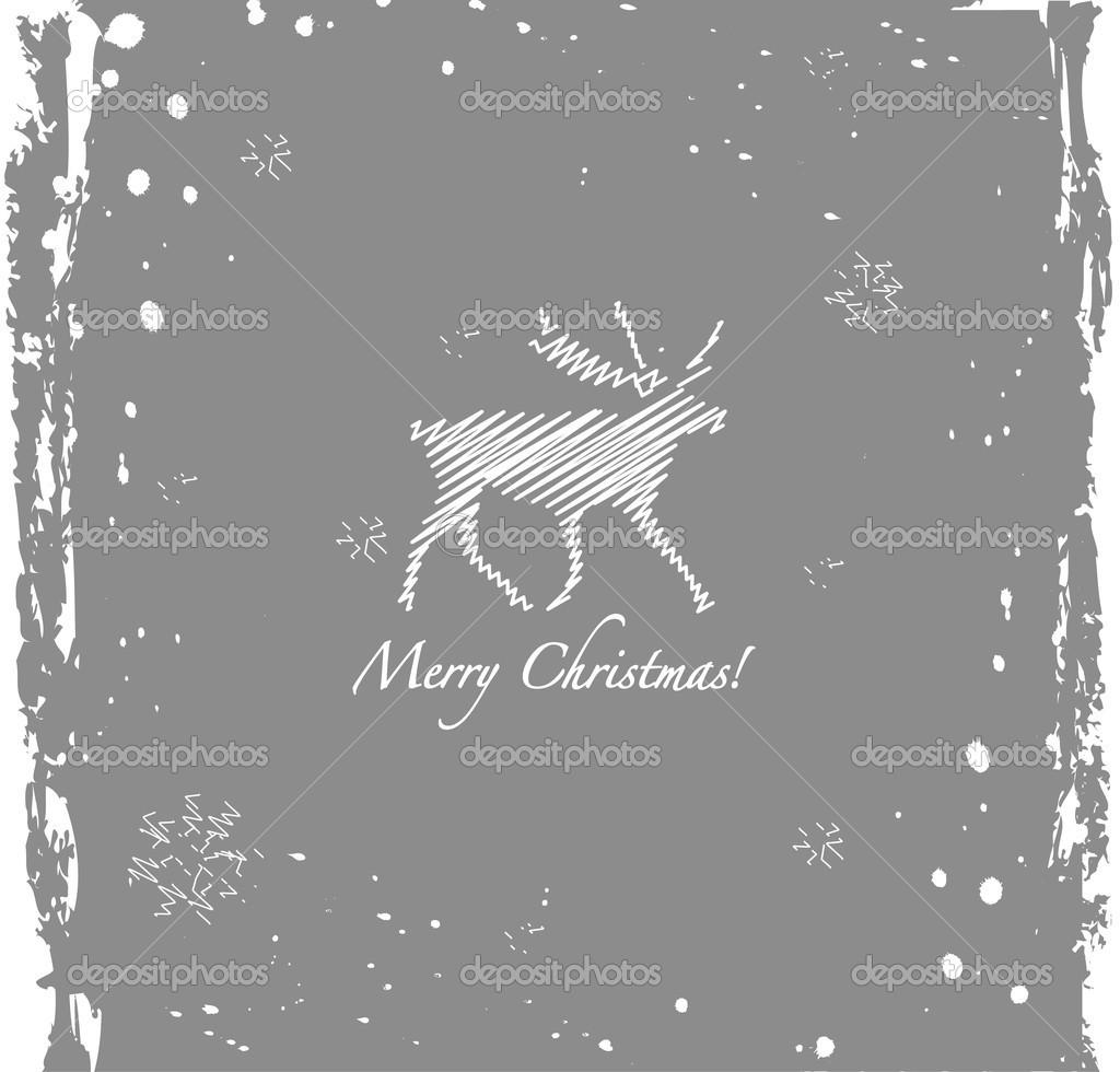 垃圾复古雪花和鹿圣诞背景 — 矢量图片作者 yasnatendp