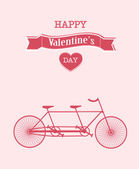 Happy Valentine's Day bicycle background — Vector de stock