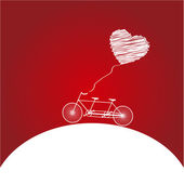 Romantic bicycle heart background — Vector de stock