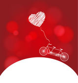 Romantic bicycle heart background — Stock Vector