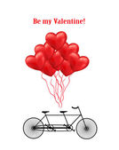 Bicycle and heart balloons background — 图库矢量图片