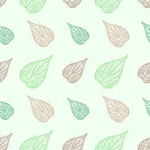 Seamless green leaves mosaic background — Vector de stock