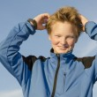 Kid adjusts his hair — Stock Photo